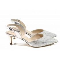 Дамски сандали - естествена кожа - сребро - EO-12348