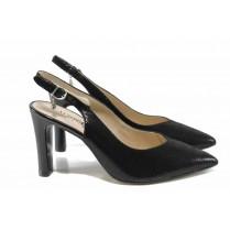 Дамски сандали - естествена кожа - черни - EO-12346