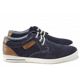 Мъжки обувки - естествен набук - тъмносин - EO-12344