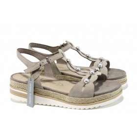 Дамски сандали - естествена кожа - бежови - EO-12396