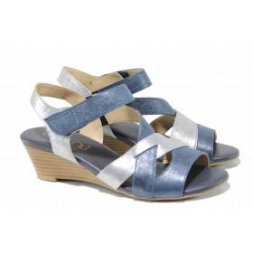 Дамски сандали - естествена кожа - сини - EO-12388