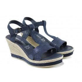 Дамски сандали - естествена кожа - сини - EO-12394