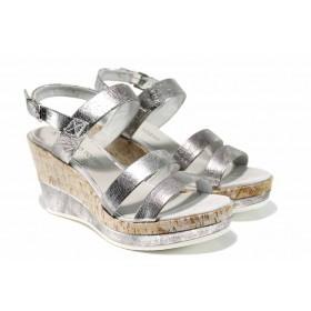 Дамски сандали - висококачествена еко-кожа - сребро - EO-12391