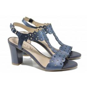 Дамски сандали - естествена кожа - сини - EO-12386