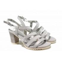 Дамски сандали - еко-кожа с текстил - сиви - EO-12395