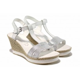 Дамски сандали - естествена кожа - бели - EO-12393