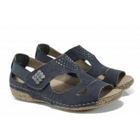Дамски сандали - естествена кожа - сини - EO-12390