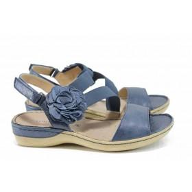 Дамски сандали - естествена кожа - сини - EO-12389
