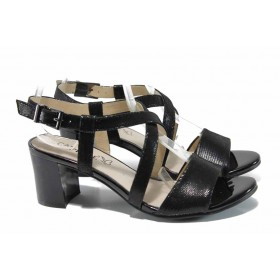Дамски сандали - естествена кожа - черни - EO-12387