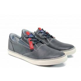 Спортни мъжки обувки - висококачествена еко-кожа - тъмносин - EO-12414