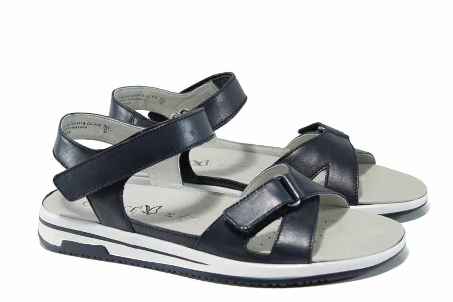 Дамски сандали - естествена кожа - тъмносин - EO-12406