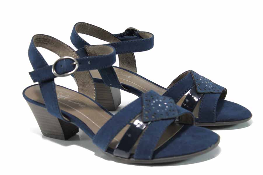 Дамски сандали - висококачествен еко-велур - сини - EO-12409
