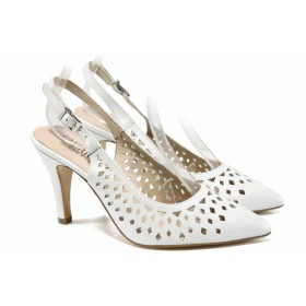 Дамски сандали - естествена кожа - бели - EO-12408