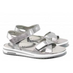 Дамски сандали - естествена кожа - сребро - EO-12407