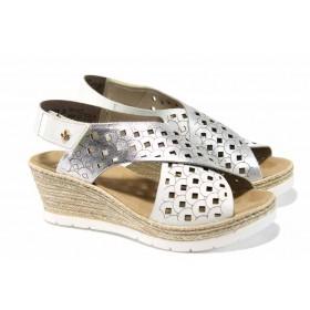 Дамски сандали - естествена кожа - бели - EO-12412