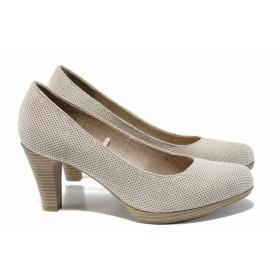 Дамски обувки на висок ток - висококачествен еко-велур - бежови - EO-12425