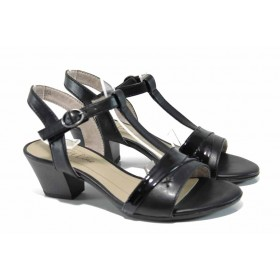 Дамски сандали - висококачествена еко-кожа - черни - EO-12411