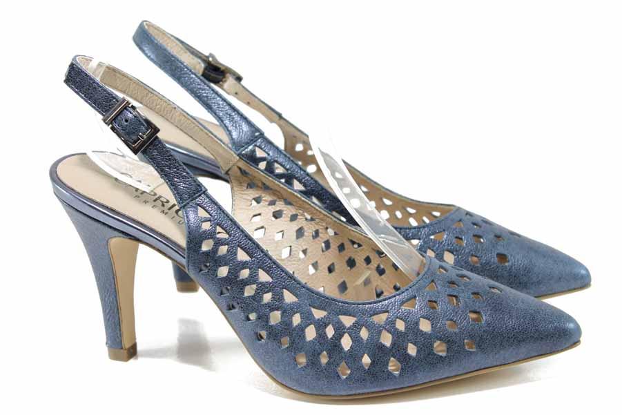 Дамски сандали - естествена кожа - сини - EO-12427