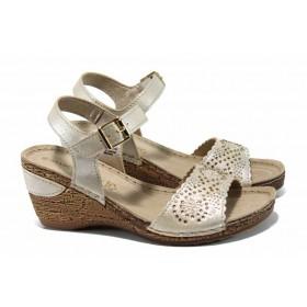 Дамски сандали - висококачествена еко-кожа - бежови - EO-12424