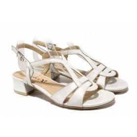 Дамски сандали - естествена кожа - бели - EO-12467