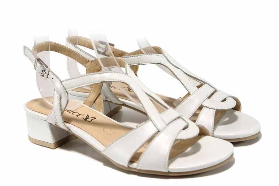 Дамски сандали - естествена кожа - бели - EO-17113