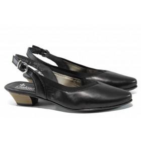 Дамски обувки на среден ток - естествена кожа - черни - EO-12470
