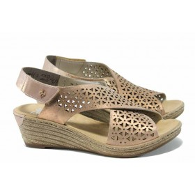Дамски сандали - естествена кожа - розови - EO-12471
