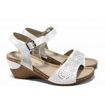 Дамски сандали - висококачествена еко-кожа - бели - EO-12477