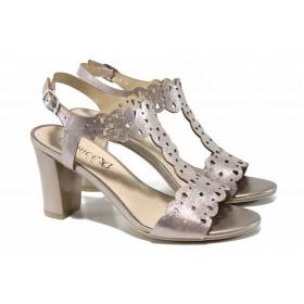 Дамски сандали - естествена кожа - розови - EO-12479