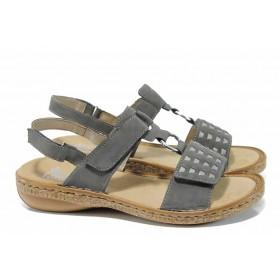 Дамски сандали - висококачествена еко-кожа - сиви - EO-12511