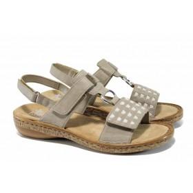 Дамски сандали - висококачествена еко-кожа - сиви - EO-12489