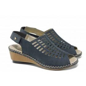Дамски сандали - естествена кожа - сини - EO-12490