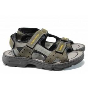 Мъжки сандали - висококачествена еко-кожа - зелени - EO-12519