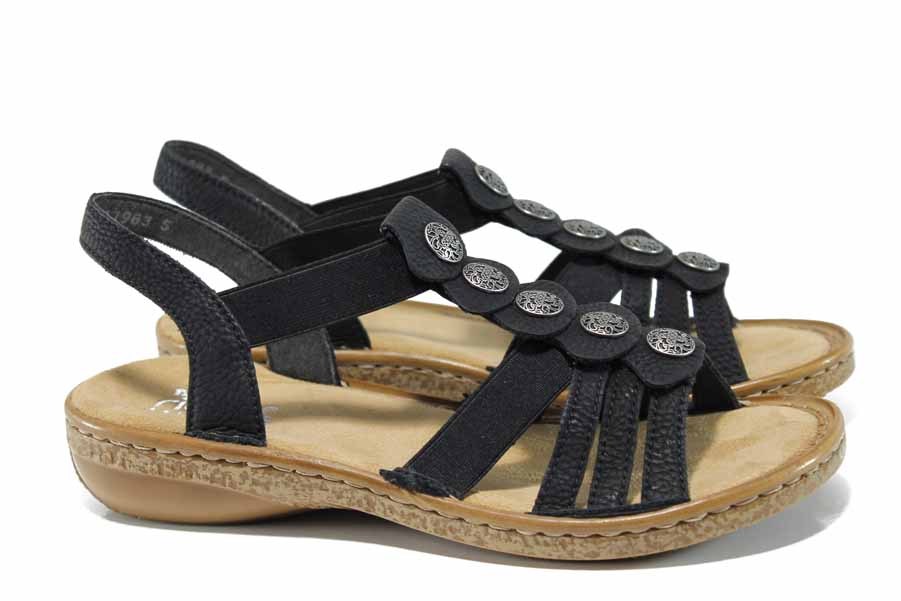 Дамски сандали - висококачествена еко-кожа - черни - EO-12522