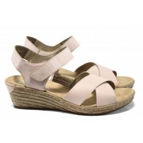 Дамски сандали - естествена кожа - розови - EO-12525