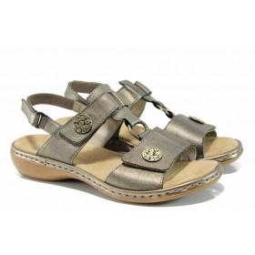 Дамски сандали - естествена кожа - сиви - EO-12523