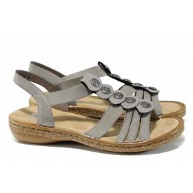 Дамски сандали - висококачествена еко-кожа - сиви - EO-12524