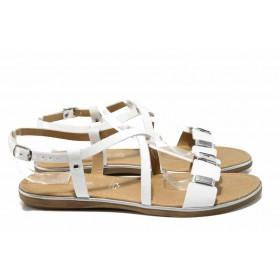 Дамски сандали - естествена кожа - бели - EO-12570