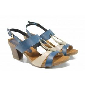 Дамски сандали - естествена кожа - сини - EO-12568