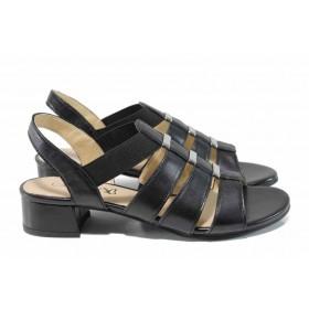 Дамски сандали - естествена кожа - черни - EO-12657
