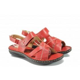Дамски сандали - естествена кожа - червени - EO-12701