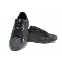 Дамски спортни обувки - висококачествена еко-кожа - черни - EO-12896