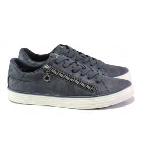 Дамски спортни обувки - висококачествена еко-кожа - сини - EO-12895