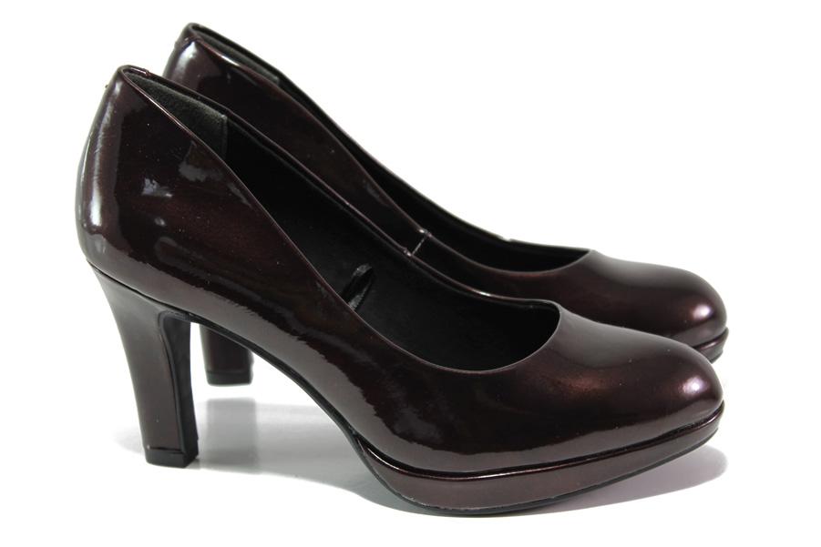 Дамски обувки на висок ток - еко кожа-лак - бордо - EO-12936