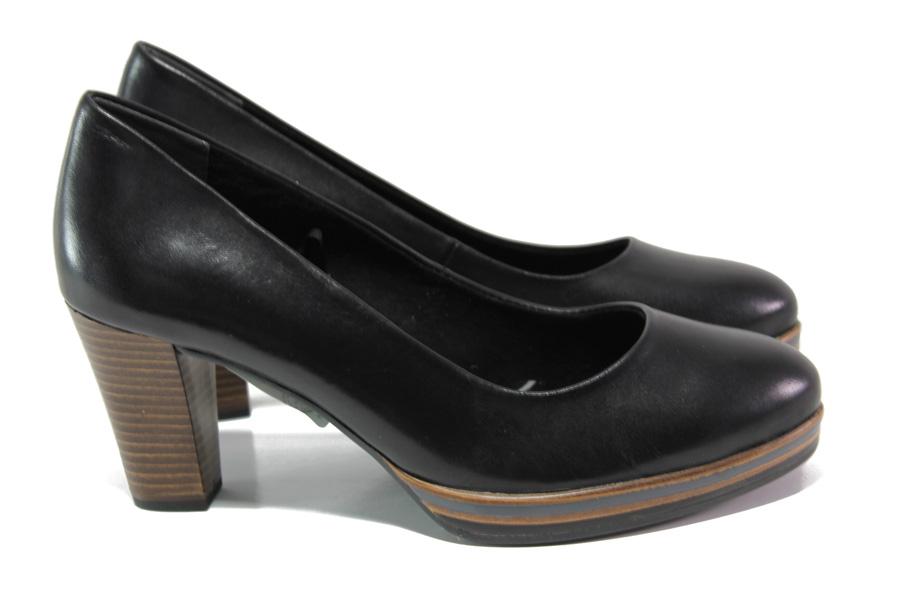 Дамски обувки на висок ток - естествена кожа - черни - EO-12939
