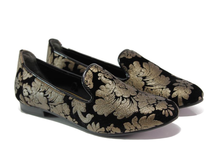 Равни дамски обувки - висококачествен еко-велур - черни - EO-12930