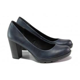 Дамски обувки на висок ток - висококачествена еко-кожа - тъмносин - EO-12933