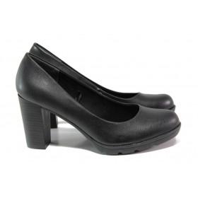 Дамски обувки на висок ток - висококачествена еко-кожа - черни - EO-12934