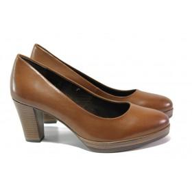 Дамски обувки на висок ток - естествена кожа - кафяви - EO-12938