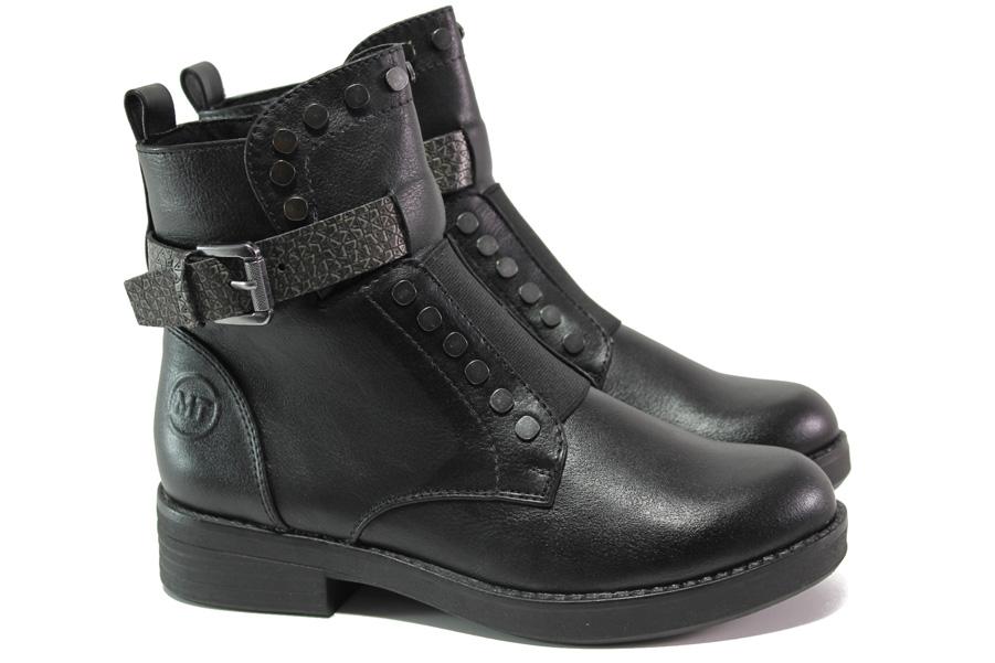Дамски боти - висококачествена еко-кожа - черни - EO-12940